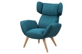 AC Design Furniture 63388 Loungestuhl Bianca, Stoff Corsica petrol, Beine Esche -