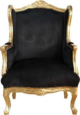 Casa Padrino Barock Lounge Thron Sessel Schwarz/Gold Mod2 - Ohren Sessel - Ohrensessel Tron Stuhl -