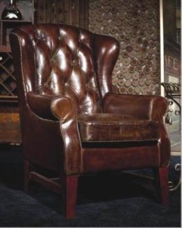 Chesterfield Vintage Ledersessel Echtleder Ohrensessel Design Lounge Sessel 446 -