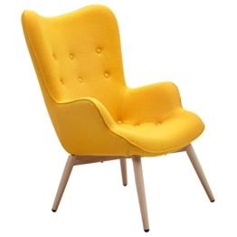 Designer Ohren-Sessel mit Armlehnen aus Wolle gelb | Anjo | Gelber Club-Sessel im Retro-Design mit Gestell in Holz | Moderner Wohnzimmer-Sessel auch als Relax-Sessel zu benutzen -