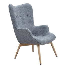 Designer Ohren-Sessel mit Armlehnen aus Wolle grau | Anjo | Grauer Club-Sessel im Retro-Design mit Gestell in Holz | Moderner Wohnzimmer-Sessel auch als Relax-Sessel zu benutzen -
