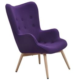 Designer Ohren-Sessel mit Armlehnen aus Wolle lila | Anjo | Lilaner Club-Sessel im Retro-Design mit Gestell in Holz | Moderner Wohnzimmer-Sessel auch als Relax-Sessel zu benutzen -