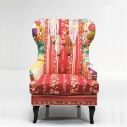 Kare Ohrensessel Patchwork Textil bunt -