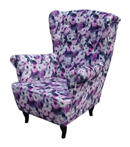 Ohrensessel Blumenmuster LUDWIG Loungesessel Chesterfield -