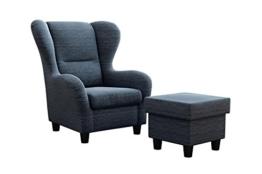 """Ohrensessel Möbelfreude® Landhausstil mit Hocker """"Savana"""" Cocktail-Sessel Wohnzimmer-Sessel Relax-Sessel Blau Struktur-Stoff Luxus Cocktail-Sessel (Blau) -"""