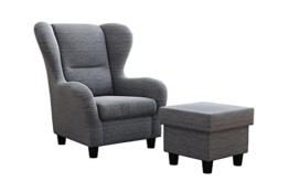 """Ohrensessel Möbelfreude® Landhausstil mit Hocker """"Savana"""" Hell-Grau Cocktail-Sessel Wohnzimmer-Sessel Relax-Sessel Grau Struktur-Stoff Luxus Wing-Chair Cocktail-Sessel (Grau) -"""