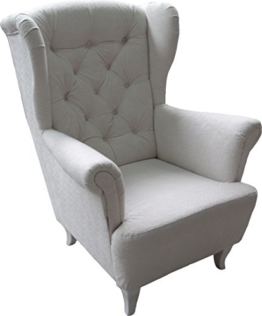 Ohrensessel Weiß Weiss LUDWIG Loungesessel Chesterfield -