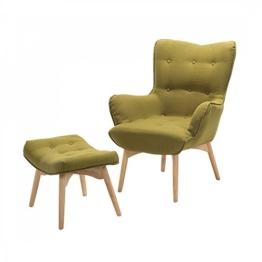 Sessel Olivgrün - Ohrensessel - Relaxsessel - Stuhl + Hocker - Polstersessel - VEJLE -