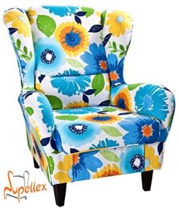 Supellex, Ohrensessel / Fernsehsessel Sofia mit Hocker, Dessin: Blumen, blau/gelb -